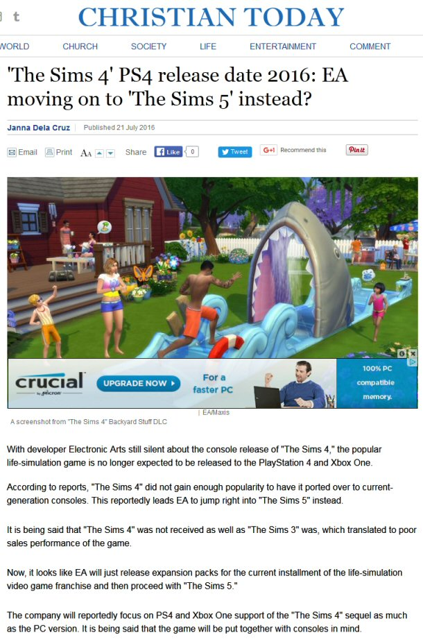 Sims 5 Already? Or Are Some Jumping The Gun Even More Than